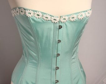 1880 Victorian Romantic Midbust Busk Corset in tiffany green taffeta with daisy flower cotton lace. Pastel Lolita Burlesque Bustle Age style