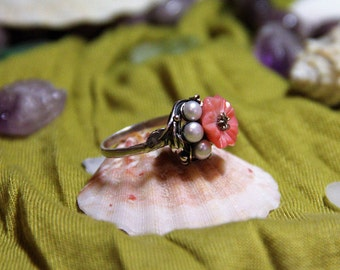 Tender flower charm sterling silver rong with coral and pearl