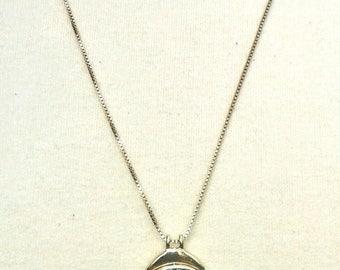 Vintage Necklace With Reversible Pendant, Vintage Necklace, Vintage Necklace for Women with Reversible Blue and Aqua Pendant, Necklaces