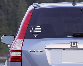 Thin Blue Line Heart Flag Car Window Decal, Police Decal, Love My Police Officer Decal, Police Wife, Police Girlfriend