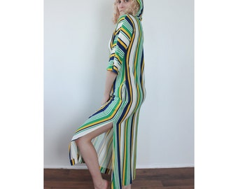 70s Caftan Striped // Vintage Beach Cover Up Maxi Dress Lounge Terrycloth Hooded - Small to Medium
