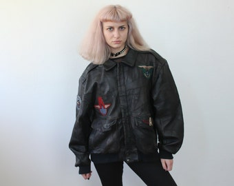 Vintage Leather Jacket Air Force // 80s Coat Patch Bomber Patchwork Motorcycle - Extra Large xl