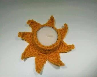 Crocheted sun tea light holder - gold - sunny, sun rays, celestial candle holder