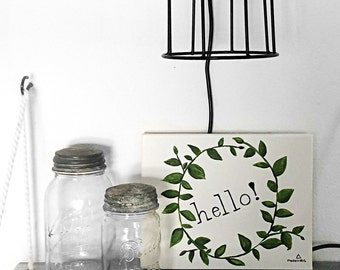"""Hello Greenery Hand Painted Sign, Hello Wreath, 8x10"""" Canvas"""