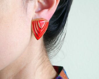 Red Multi Triangle Earrings