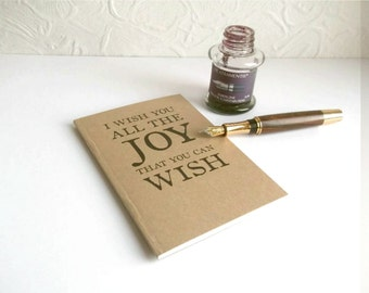 Shakespeare Joy Quote Notebook - Literary Quotation, Choice of Pages   Recycled A6 Kraft Journal   Book Lover Gift, Literary Gift for Writer