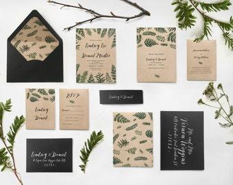13. Sample - Woodland wedding nature invitation garden wedding rustic fern wedding invite wedding invitations greenery botanical wedding