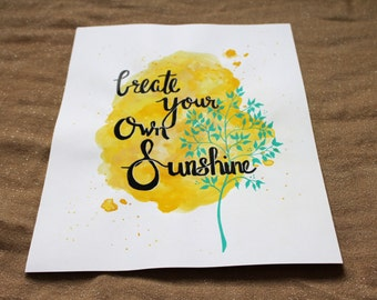 Sunshine Watercolor Calligraphy Print