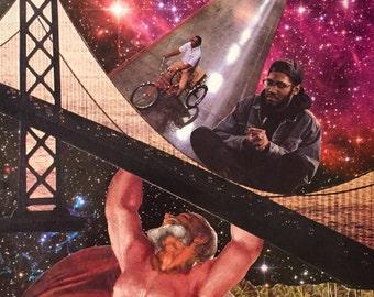 SEEDS OF SATURN--collage art--Space--Saturn--bridge---Kaytranada