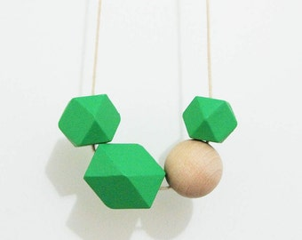 30% SALE!!! - Hand painted wooden bead necklace - Green, Natural, geometric bead necklace, natural necklace, beaded Necklaces, wood jewelry