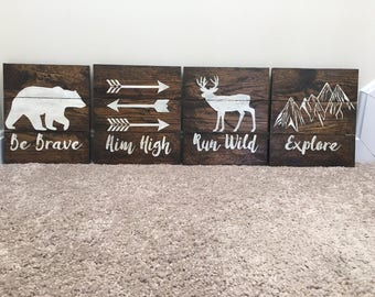 Be Brave, Aim High, Run Wild, Explore Wood Signs (Set of 4), Woodland Nursery Decor