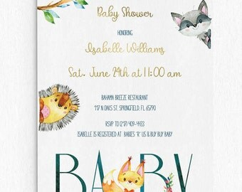 Baby Shower Invitation - Forest Animals - Printable