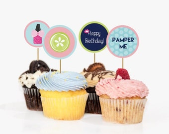 Spa Glam Day - Girl Birthday Party - Printable Cupcake Toppers - Labels 2 in