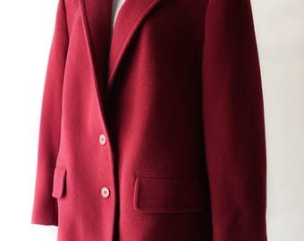 SALE Vintage Red Pendleton Coat / Vintage 1970s Long Red Wool Peacoat / 70s Vintage Women's Long Coat / Heavy Outerwear / Vintage Clothing