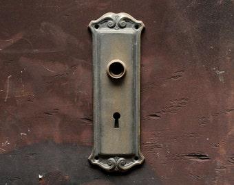 Antique brass door plate circa 1920's / vintage brass door plate escutcheon