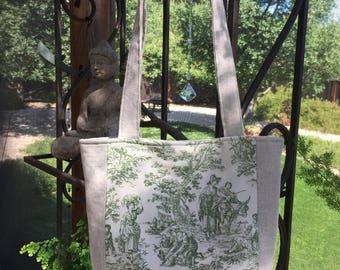 GreenToile de Jouy purse, Linen tote, linen purse, vintage french toile de Jouy, upcycled bag, Toile de Jouy shoulder bag, summer purse
