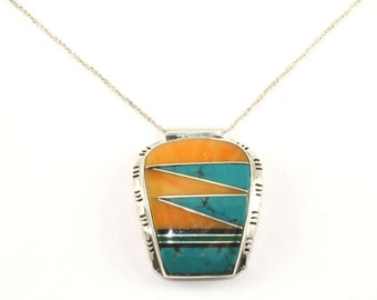 Vintage Navajo Turquoise Inlay Necklace 925 Sterling Silver NC 521