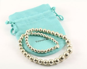 "Vintage TIFFANY & CO Graduated Bead Ball 16"" Sterling Necklace with Pouch NC 268-E"