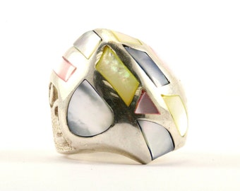 Vintage Large Multicolor Mother Of Pearl Inlay Ring 925 Sterling Silver RG 867-E