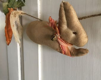 Handmade/Primitive Easter Garland/ Primitive Rabbits and Carrots Garland/ Spring Garland /Primitive Farmhouse