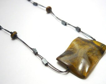 Handmade multi-strings necklace tiger eye gemstone