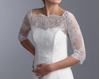 Bridal lace bolero with 3/4 sleeves, lace bridal bolero, lace jacket, Wedding lace bolero