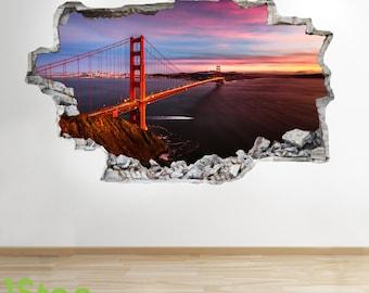 Golden Gate Bridge Wall Sticker 3d Look - Bedroom Lounge City Wall Decal Z210