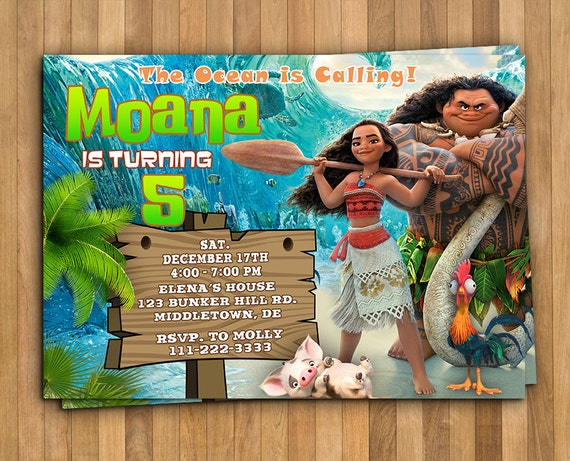 Moana Birthday Party Invitation Card