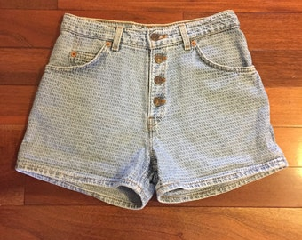 Vintage Textured Levi's High Waisted Denim Shorts