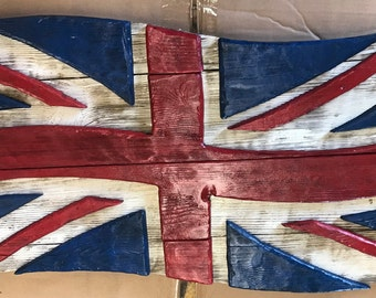 Wooden British flag, Union Jack flag, distressed wood Union Jack flag
