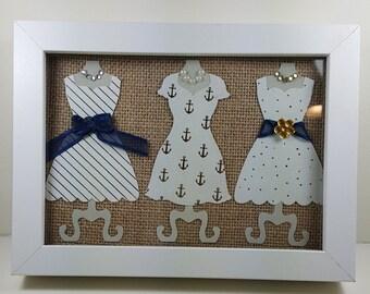 Nautical Framed Paper Dress Forms -  Framed Paper Dresses - Framed Wall Art