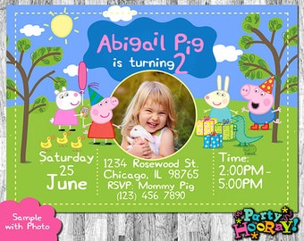 Peppa Pig Photo Invitation, Peppa Pig Invitation with Photo, Peppa Pig Invites, Peppa Pig Birthday Invitation, Personalized Peppa Pig Invite