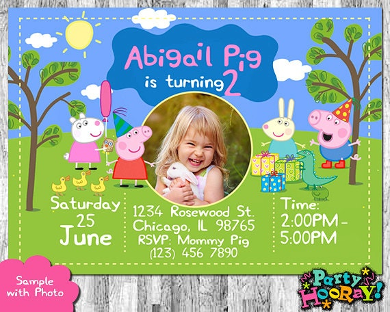 Peppa Pig Photo Invitation Peppa Pig Invitation with Photo