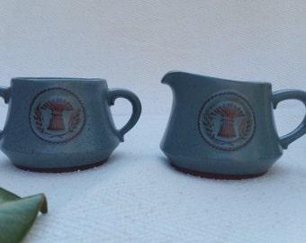Blue/Brown Speckled Cream and Sugar Set, Vintage, Stoneware
