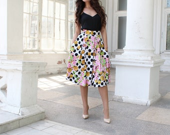 Polka dot skirt - Size S - Floral skirt, Summer skirt, Silk Satin skirt, Midi skirt, Flower Skirt, Boho Skirt, White skirt with flowers