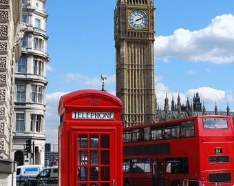 Big Ben London with red phone booth, artistic photography decoration.