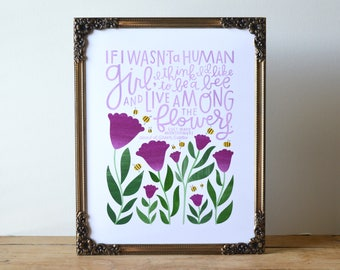 If I Wasn't a Human Girl, I Think I'd... | 8x10 Hand Lettered and Illustrated Book Quote Art Print | L. M. Montgomery | Anne of Green Gables