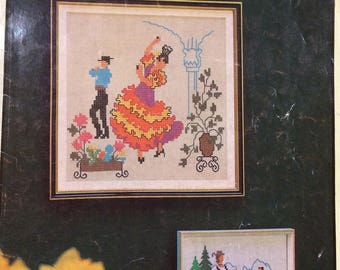 Around the World in Cross Stitch - vintage counted cross stitch booklet/charts
