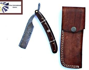 Damascus Steel razor / Straight RAZOR/ Micarta Scales / Titan International / Td-42 Razor / DAMASCUS KNIFE