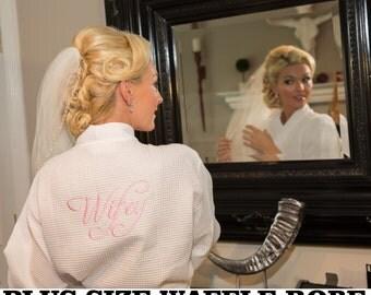 Personalized Plus Size Bridesmaids Robes Kimono Waffle Robe