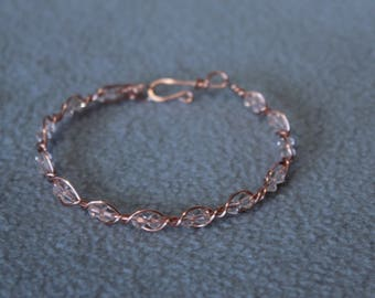 Clara Non Tarnish Copper Bracelet with pale pink Swarovski Crystal Beads