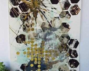 SALE item ** Abstract geometric mixed media art // block printed repeat pattern // wall art