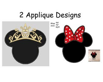 Minnie Mouse Applique Design - 4x4,5x7,6x10 instant download 2 designs