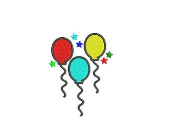 Balloons Embroidery Design - 2,3,4,5,6 inch instant download Birthday Embroidery