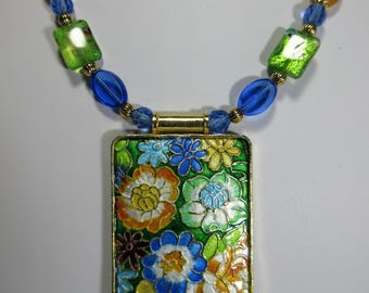 """Cloisonne rectangle, millefiori accent beads, 24"""" cloisonne flowered rectangle necklace with 3/4 """" earrings, cloisonne pendant, 2-e"""