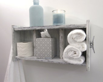 Distressed White Bathroom Shelving Over the Toilet–Chunky Bathroom Wall Shelves With Boat Cleats–2 Shelf Coastal Bathroom Shelves With Hooks