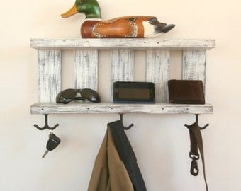 2 Shelf White Coat Rack With Hooks – Rustic Chunky Wooden Shelves – White Wall Coat Rack With Shelf – Rustic Open Shelving Reclaimed Wood
