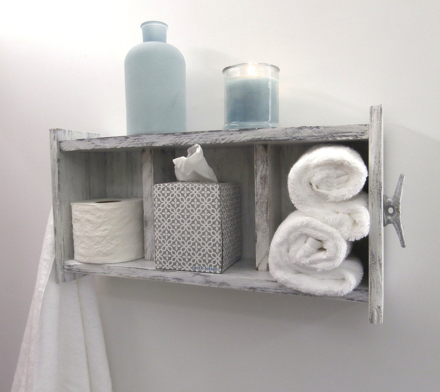 Distressed white bathroom shelving over the toiletchunky zoom amipublicfo Images