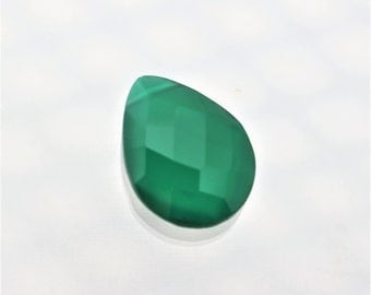 One Green Onyx Teardrop Bead, Faceted, 18mm