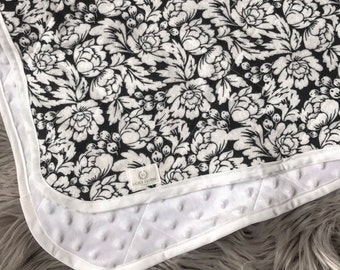 Black & White Floral Flannel and Minky Baby Blanket